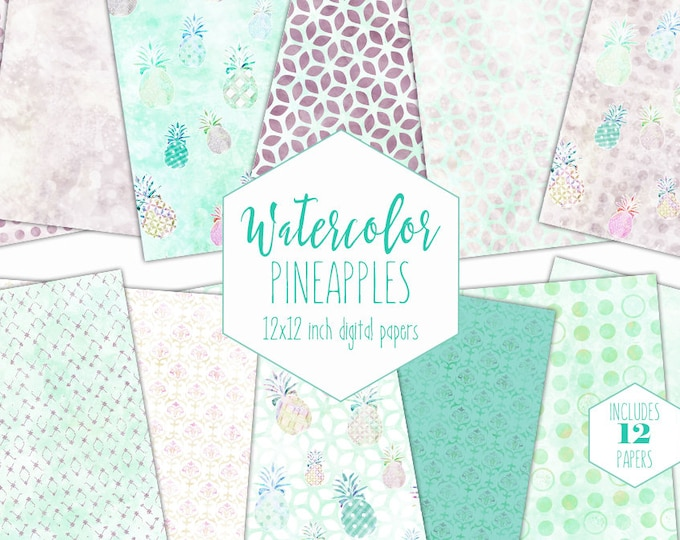 BLUSH & MINT PINEAPPLE Digital Paper Pack Commercial Use Backgrounds Tropical Scrapbook Papers Pastel Watercolor Pineapples Mint Textures