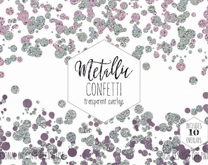 RAINBOW CONFETTI Clipart for Commercial Use Party Clip Art Dot Border Overlays Gold Purple Pink & Mint Wedding Invitation Digital Graphics