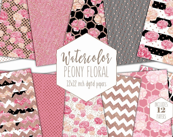 PINK WATERCOLOR PEONY Digital Paper Pack Black White Stripe Rose Gold Commercial Use Backgrounds Shabby Chic Floral Scrapbook Dot Patterns