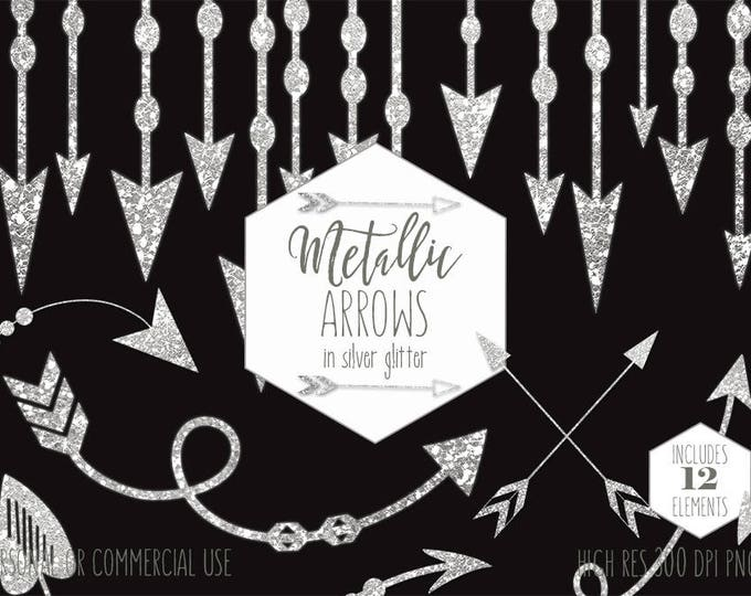 SILVER ARROW Clipart Commercial Use Boho Planner Clip Art Metallic Glitter Arrows Bohemian Tribal Wedding Invitation Border Digital Graphics
