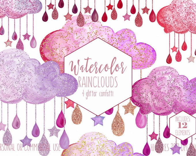CUTE RAIN CLOUDS Clipart Commercial Use Clip Art Watercolor Clouds with Pink Purple Glitter Confetti Rain Drops Hanging Stars Baby Graphics