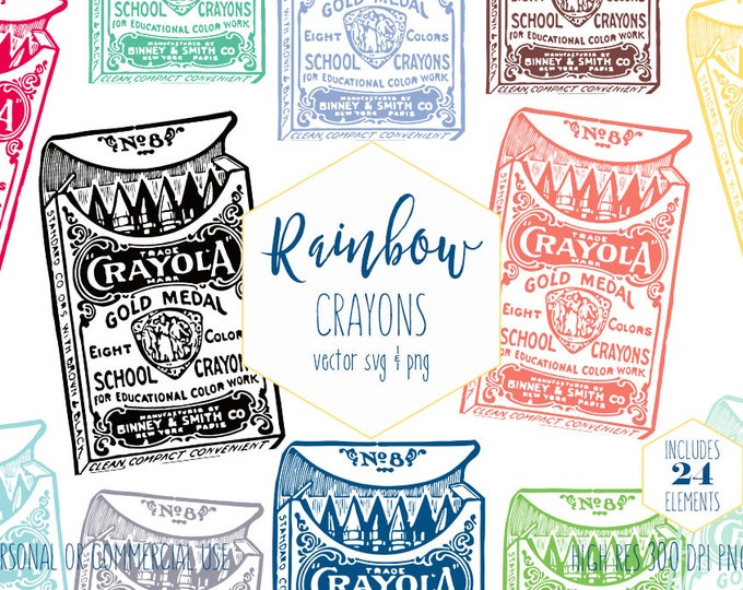 VINTAGE CRAYOLA CRAYONS Clipart for Commercial Use School Clip Art for Kids Box of Crayons Rainbow Color Teacher Digital Vector Graphics Svg