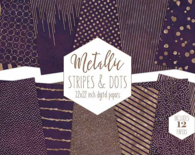 PURPLE & ROSE GOLD Digital Paper Pack Stripe Backgrounds Metallic Foil Confetti Wedding Scrapbook Papers Polka Dot Party Printable Clipart