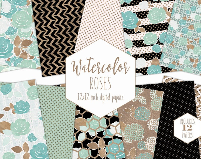 MINT & ROSE GOLD Floral Digital Paper Pack Black White Stripes Metallic Backgrounds Commercial Use Modern Flower Scrapbook Paper Patterns