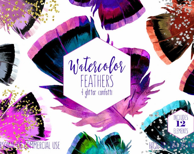 BOHO CHIC FEATHERS Clipart Commercial Use Clip Art Watercolor Feather Graphics Silver & Gold Metallic Confetti Tribal Pink Purple Feathers