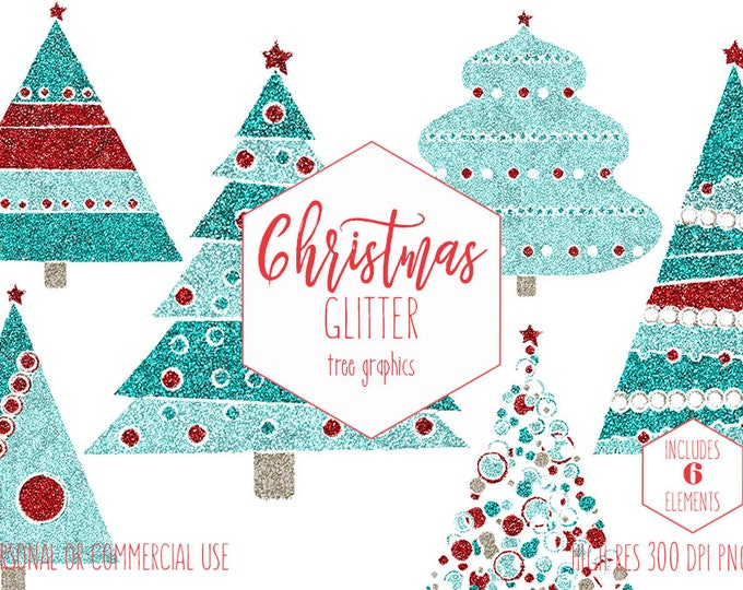 GLITTER CHRISTMAS TREE Clipart for Commercial Use Holiday Planner Sticker Clip Art for Kids Fun Red & Aqua Cute Invitation Digital Graphics