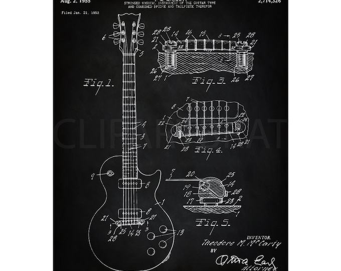 1955 GIBSON LES PAUL Printable Art Print Instant Download Electric Guitar Patent Diagram Digital Print Man Cave wall Art Printable Poster
