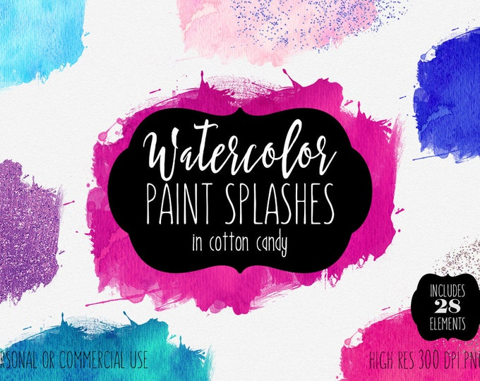 PINK WATERCOLOR BRUSH Strokes Clipart Commercial Use Clip Art 28 Watercolor Paint Splash Blue Purple Confetti Glitter Textures Logo Graphics