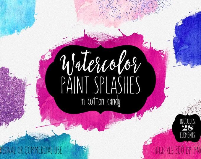 PINK WATERCOLOR BRUSH Strokes Clipart Commercial Use Clip Art 28 Watercolor Paint Splash Blue Purple Confetti Glitter Textures Logo Graphics