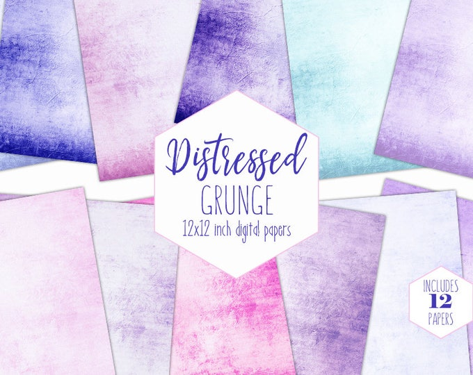 BLUE & PINK GRUNGE Digital Paper Pack Distressed Backgrounds Vintage Scrapbook Papers Purple Patterns Antiqued Textures Printable Clipart
