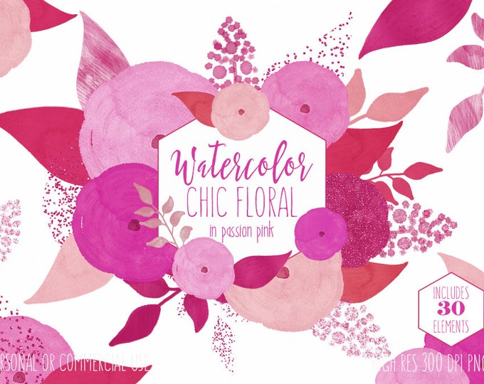 BRIGHT BLUSH PINK Watercolor Floral Clipart Commercial Use Clip Art Watercolour Chic Modern Flowers & Confetti Wedding Invitation Graphics