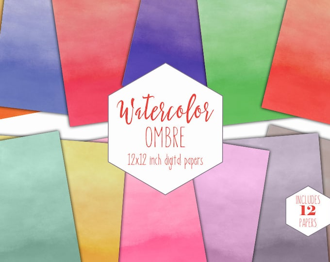 OMBRE WATERCOLOR WASH Digital Paper Pack Commercial Use Backgrounds Rainbow Scrapbook Papers Watercolour Textures Birthday Party Clipart