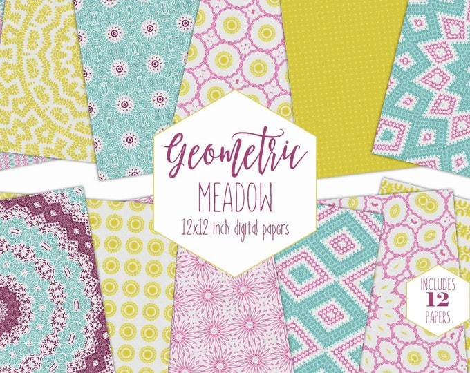 BOHEMIAN Digital Paper Pack Pink Aqua & Yellow Backgrounds Floral Mandala Scrapbook Papers Geometric Patterns Party Printable Boho Clipart
