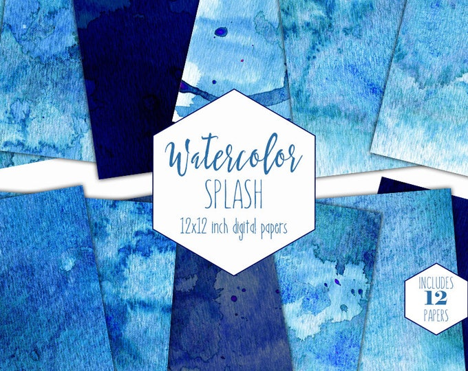 BLUE WATERCOLOR Digital Paper Pack Commercial Use Backgrounds Scrapbook Papers Sky Navy Blue Real Watercolour Splash Textures Hand Painted
