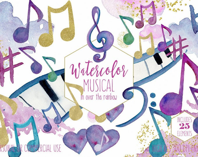 WATERCOLOR MUSIC Clipart Commercial Use Clip Art Musical Elements Metallic Gold Confetti Music Notes Treble Clef Piano Keys Rainbow Graphics