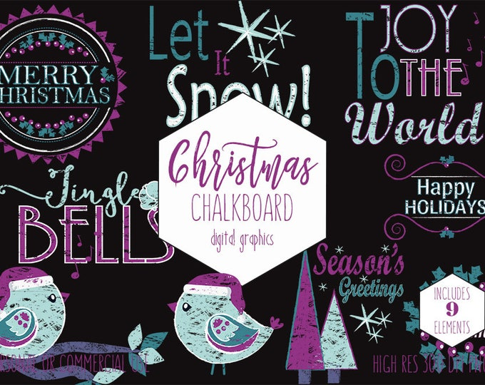 CHRISTMAS HOLIDAY CLIPART for Commercial Use Purple & Teal Clip Art Chalkboard Wordart Trees Bird Christmas Quotes Sayings Digital Graphics