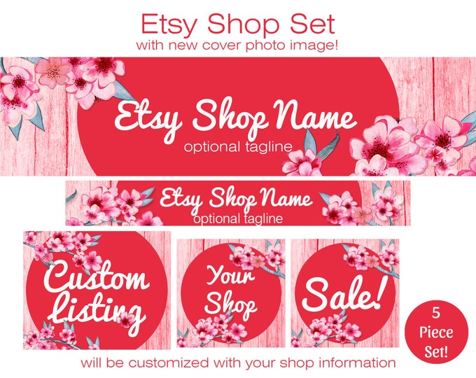 ETSY SHOP SET - Choose Your Font - Cover Photo Banner Icon Pink Wood & Cherry Blossoms Etsy Business Branding Watercolor Floral Customized