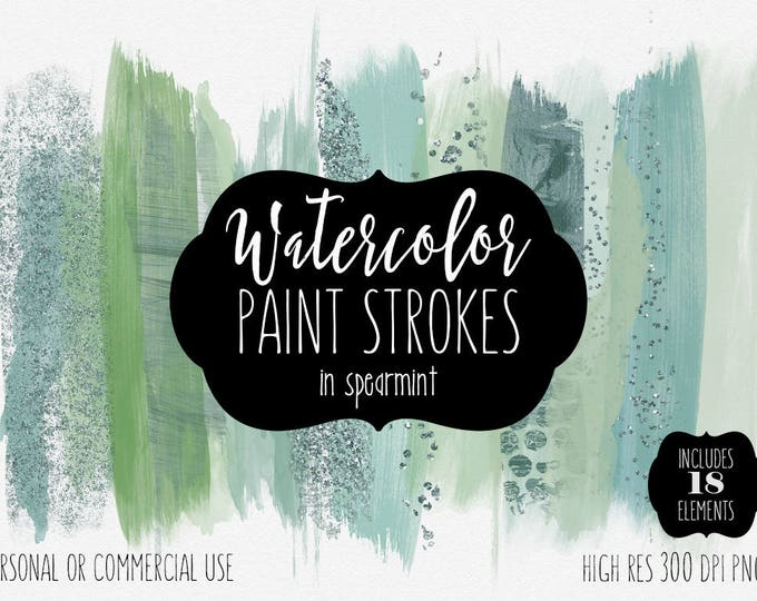 GREEN BRUSH STROKES Clip Art Commercial Use Watercolor Clipart Paint Strokes Teal & Mint Confetti Holiday Christmas Watercolour Graphics