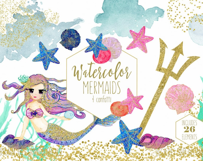 WATERCOLOR MERMAID Clipart Commercial Use Clip Art with Metallic Gold Confetti Mermaids Shells Starfish Ocean Watercolour Splash Graphics