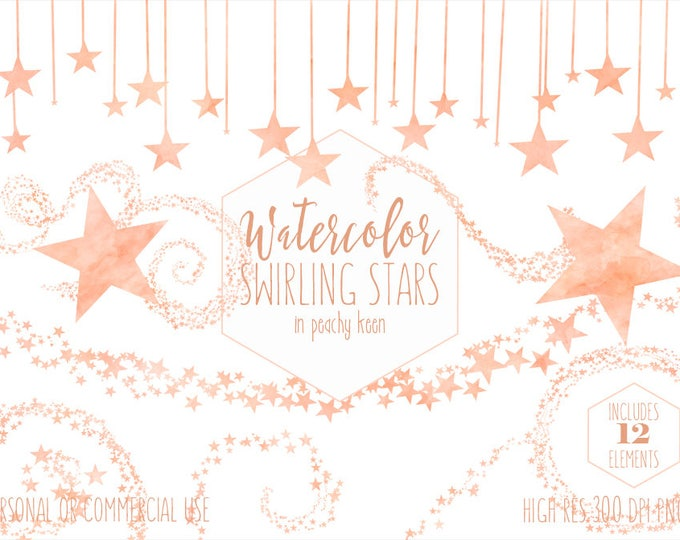 PEACH STAR CLIPART Commercial Use Clip Art Watercolor Swirling Stars Star Border Trails Confetti Baby Shower Celestial Night Sky Graphics
