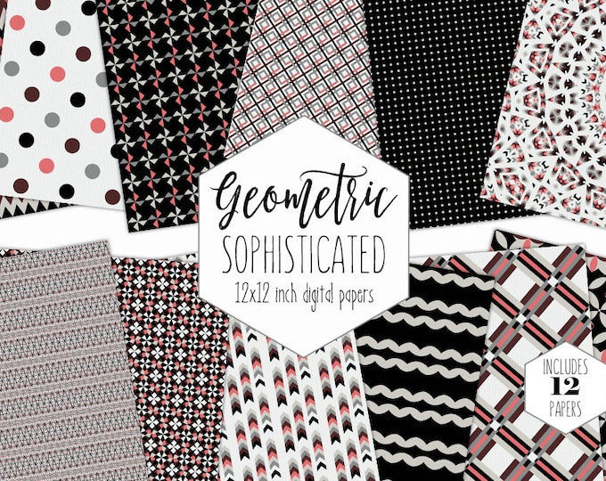 BLACK GRAY & SALMON Digital Paper Pack Modern Backgrounds Arrow Dot Plaid Scrapbook Papers Geometric Patterns Party Printable Commercial Use