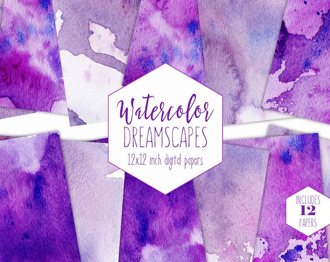 ULTRA VIOLET WATERCOLOR Digital Paper Pack Commercial Use Purple Backgrounds Splatter Watercolor Scrapbook Papers Watercolour Textures