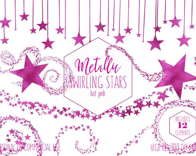 PINK METALLIC STARS Clipart Commercial Use Clip Art Swirling Hot Pink Foil Star Trails Swirl Celestial Sky Girl Baby Shower Digital Graphics