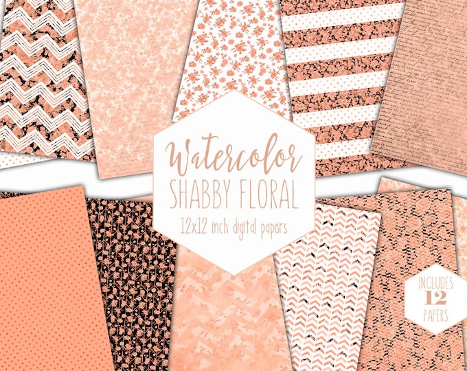 SHABBY CHIC FLORAL Digital Paper Pack Commercial Use Peach Watercolor Small Rose Backgrounds Cute Polka Dot Scrapbook Paper Striped Patterns
