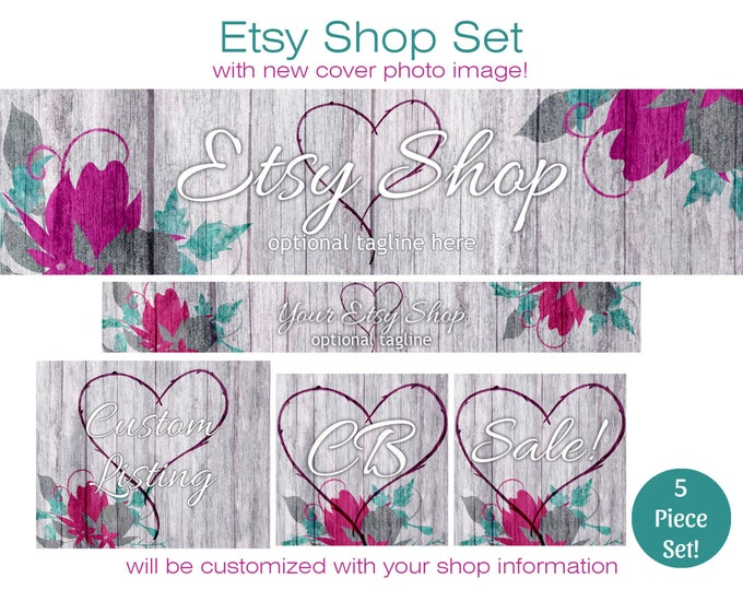 Wood & Watercolor ETSY SHOP SET -Choose Your Font- Cover Photo Banner Icon Gray Wood and Flowers Etsy Business Branding Watercolour Floral