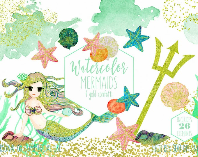 MINT WATERCOLOR MERMAID Clip Art Commercial Use Clipart 26 Elements Gold Confetti Ocean Watercolour Starfish Seashells Invitation Graphics