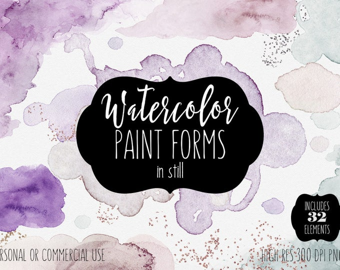 SOFT WATERCOLOR PAINT Forms & Edges Clip Art Commercial Use Clipart 32 Watercolor Brush Strokes Lavender Rose Gold Confetti Logo Graphics