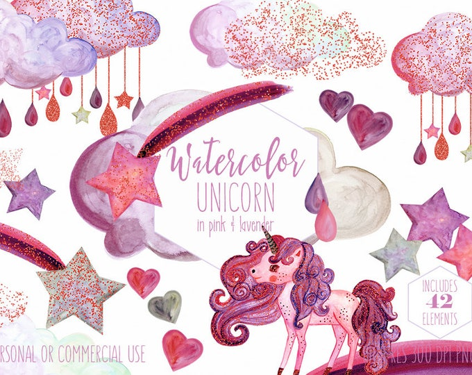 PINK WATERCOLOR UNICORN Clipart Commercial Use Clip Art Watercolour Lavender Purple Unicorns & Glitter Rain Clouds Shooting Star Graphics