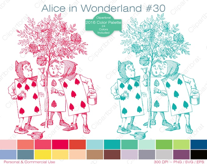 ALICE IN WONDERLAND Clipart Commercial Use Clipart Painting Roses Graphic 2016 24 Color Palette John Tenniel Digi Sticker Vector Png Eps Svg