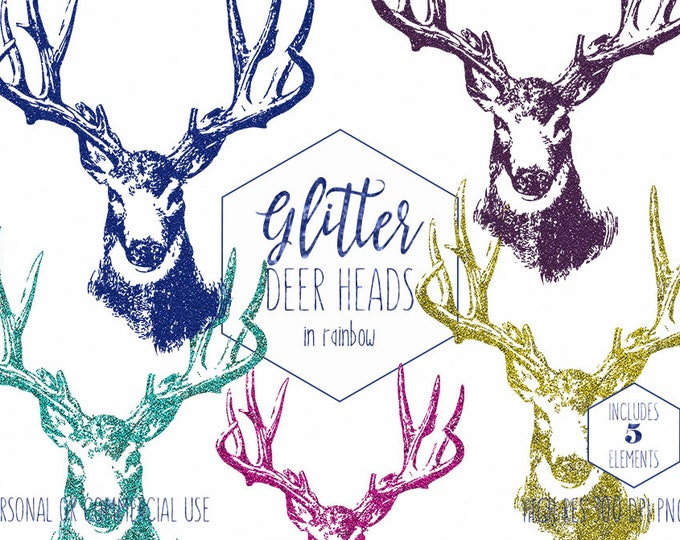 GLITTER DEER CLIPART Commercial Use Clip Art Deer Antler Clipart Buck Stag Head Gold Deer Rustic Images Blue Aqua Pink Deer Digital Graphics