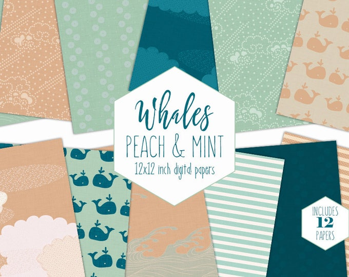 NAUTICAL WHALE Digital Paper Pack Peach Mint & Navy Blue Backgrounds Ocean Scrapbook Paper Kids Patterns Cloud Waves Party Printable Clipart