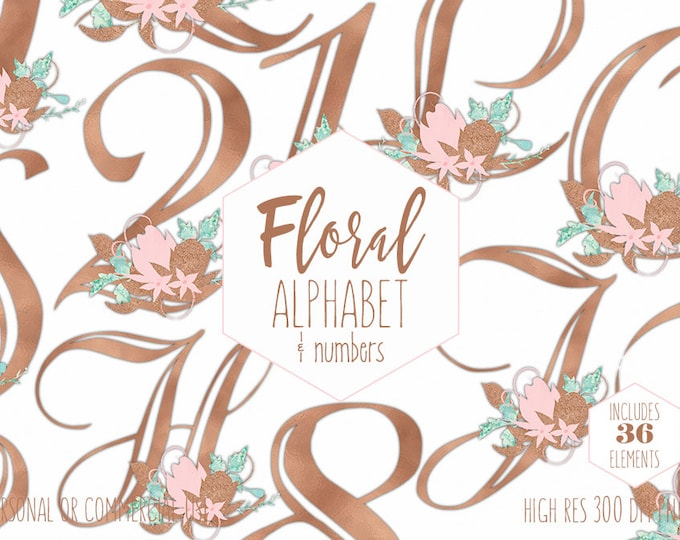 ROSE GOLD ALPHABET Clipart for Commercial Use Wedding Monogram Clip Art Blush Pink Floral Letters & Numbers Foil Flowers Digital Graphics
