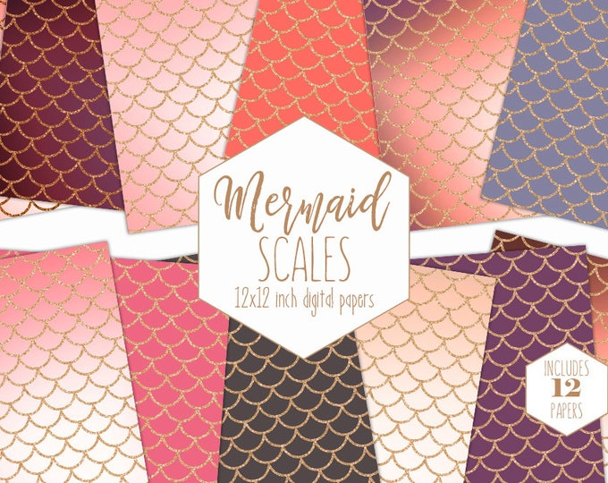 BLUSH MERMAID SCALES Digital Paper Pack Rose Gold Backgrounds Chic Burgundy Scrapbook Papers Peach Birthday Patterns Party Printable Clipart