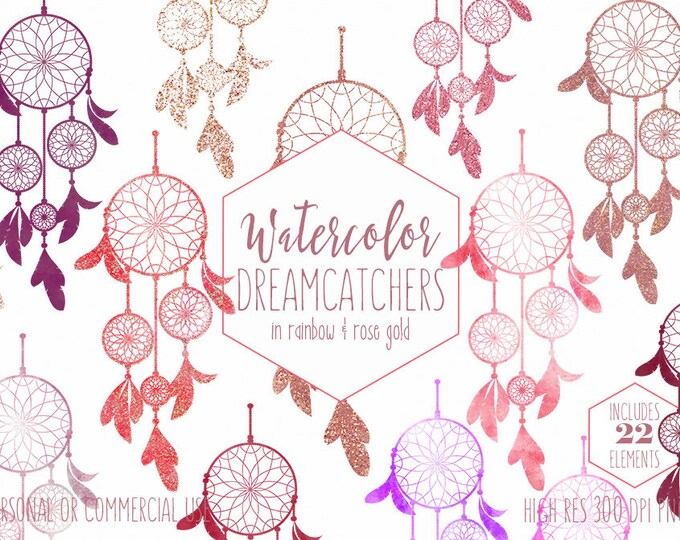 WATERCOLOR DREAMCATCHERS Clipart Commercial Use Clip Art Rainbow Pink Burgundy & Rose Gold Confetti Dream Catchers Boho Chic Tribal Graphics