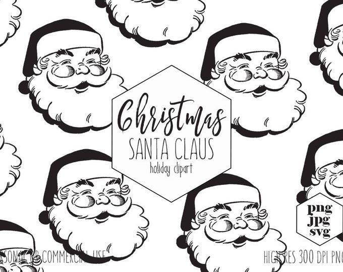 CHRISTMAS SANTA Clipart for Commercial Use Santa Claus SVG Clip Art Vintage Santa Clause Face Cut Out Fun Holiday Digital Vector Graphics