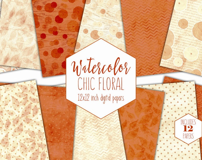 RUST WATERCOLOR FLOWERS Digital Paper Pack Commercial Use Backgrounds Cream Floral Chevron Scrapbook Papers Shabby Chic Wood Lace Patterns