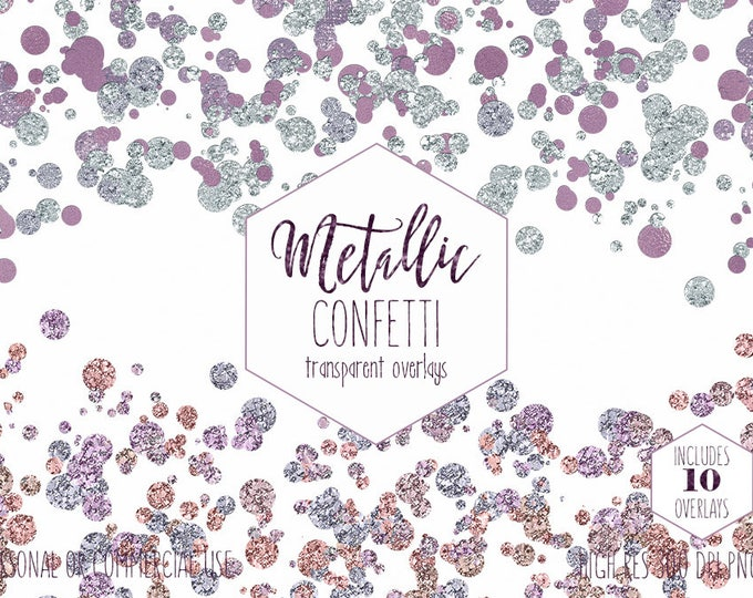 PURPLE & MINT CONFETTI Overlays Clipart Commercial Use Clip Art Rose Gold Borders Metallic Pastel Baby Shower Invitation Digital Graphics