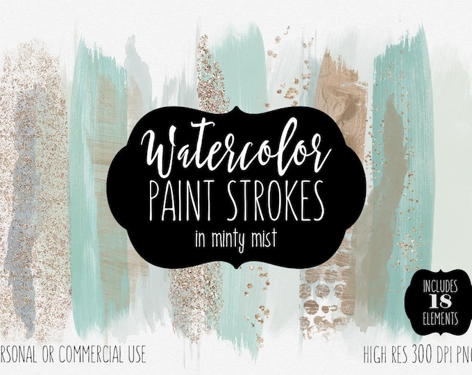 MINT WATERCOLOR Brush Strokes Clip Art Commercial Use Clipart Watercolour Paint Blog Headers Rose Gold Confetti Watercolor Logo Graphics