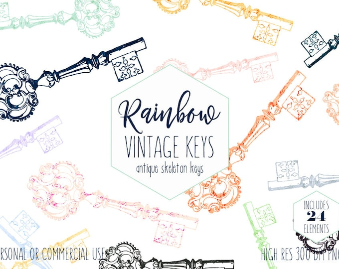 ANTIQUE KEY CLIPART for Commercial Use Clip Art Rainbow Color Vintage Skeleton Key Digital Graphics Key Shapes Romantic Victorian Era Keys