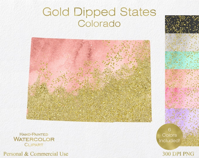 WATERCOLOR & GOLD COLORADO Clipart Commercial Use Clipart United States Shape Wedding Clipart Gold Confetti Dust Colorado State Clip Art