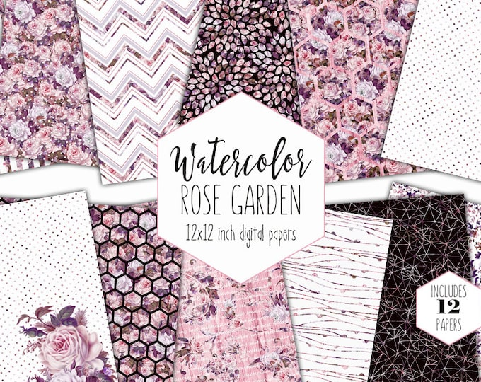 BLUSH WATERCOLOR FLORAL Digital Paper Pack Commercial Use Pink Rose Backgrounds Garden Scrapbook Paper Shabby Chic Wood Hexagon Dot Patterns