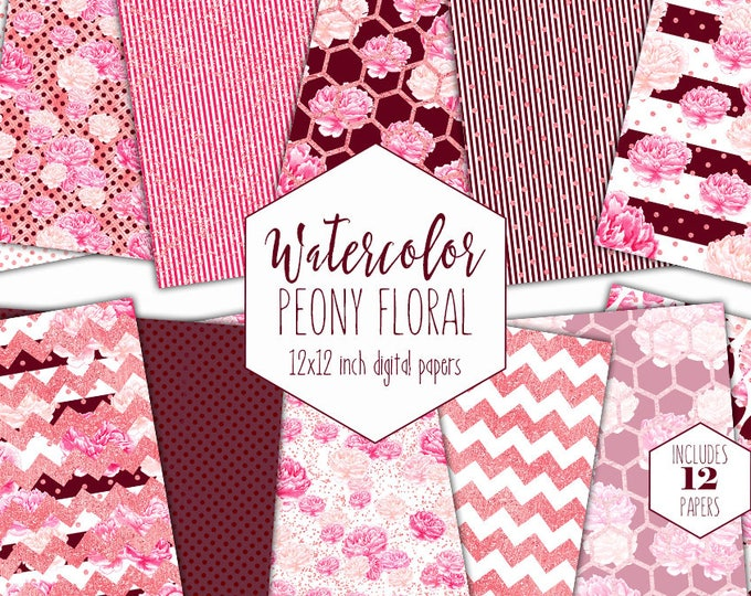 BURGUNDY WATERCOLOR FLORAL Digital Paper Pack Commercial Use Pink Peony Backgrounds Wine Stripe Scrapbook Papers Shabby Chic Flower Patterns