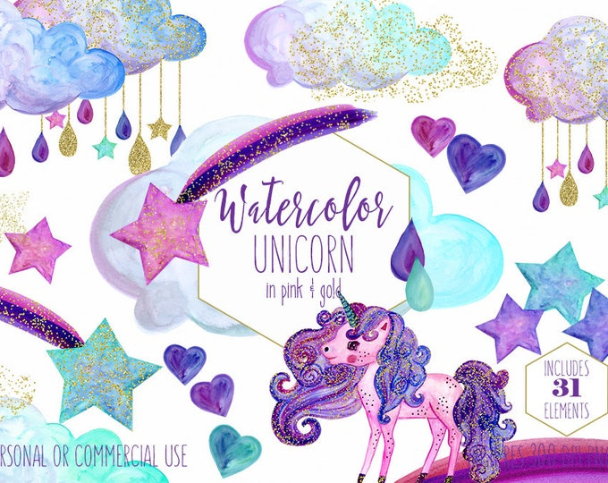 WATERCOLOR UNICORN Clipart Commercial Use Clip Art Rainbows & Gold Confetti Purple Pink Unicorn Rain Clouds Shooting Stars Girly Graphics