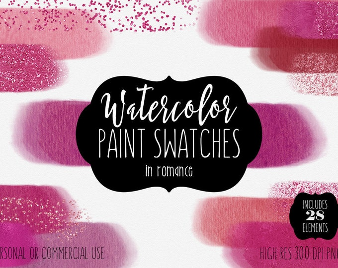 PINK & RED WATERCOLOR Paint Strokes Clipart Commercial Use Clip Art 28 Watercolor Brush Textures Fuchsia Blush Pink Confetti Logo Graphics