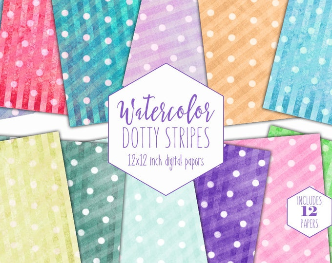WATERCOLOR POLKA DOT Digital Paper Pack Commercial Use Stripe Backgrounds Birthday Clipart Scrapbook Papers Rainbow Party Printable Patterns