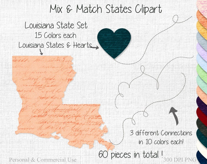 FRIENDS or COUPLES 2 STATE Wedding Clipart Commercial Use Clipart Mix & Match Home State to State Louisiana Clipart United States Shapes